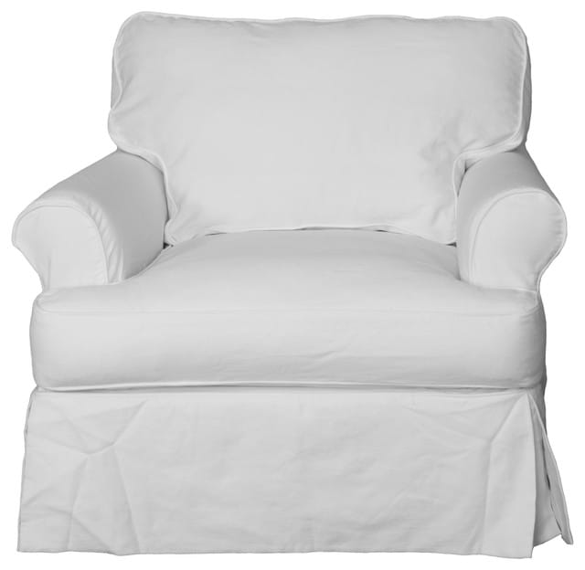 White, two-piece slipcover.