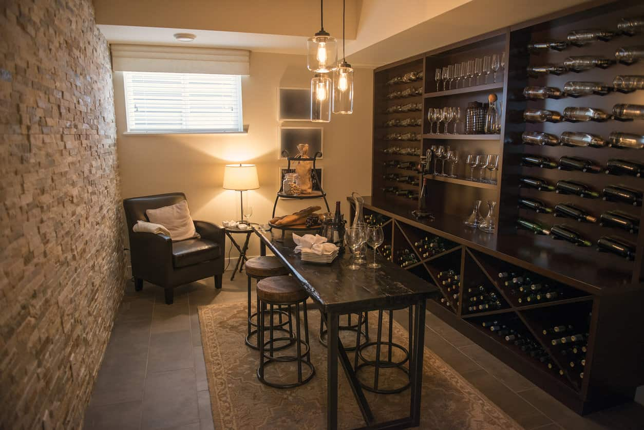Wine cellar and tasting room in a house