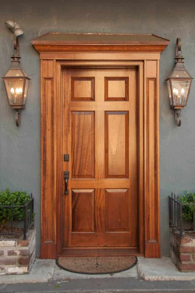 Wood trim on wood front door