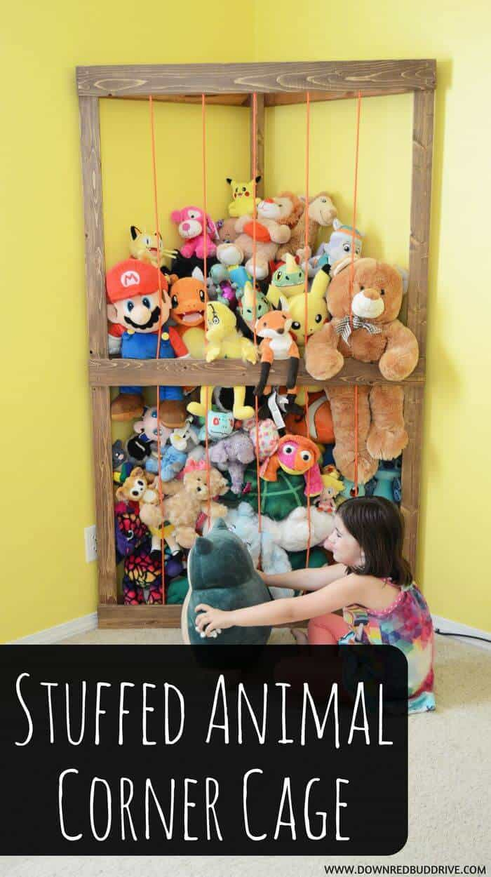 Stuffed animal storage cage for the corner