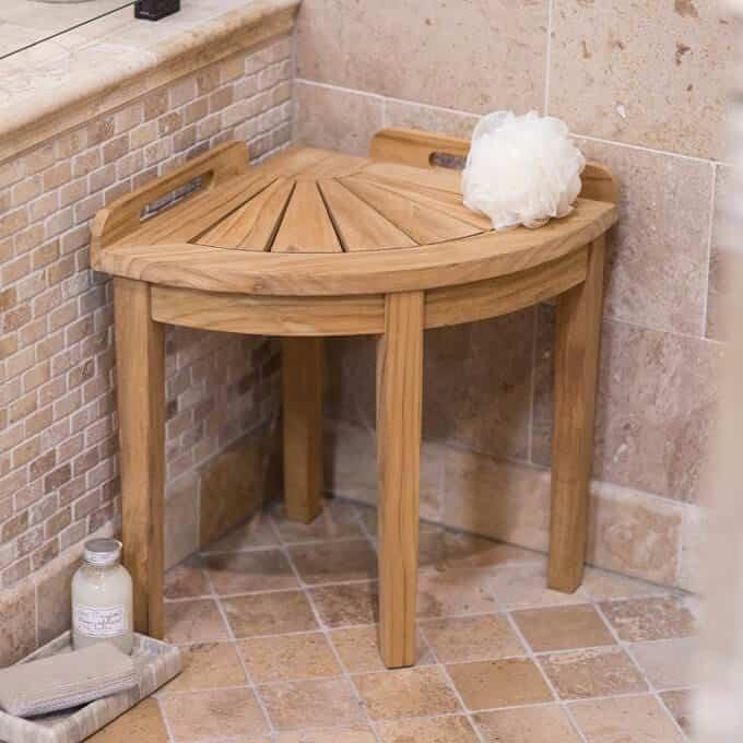 Corner storage bench in bathroom.