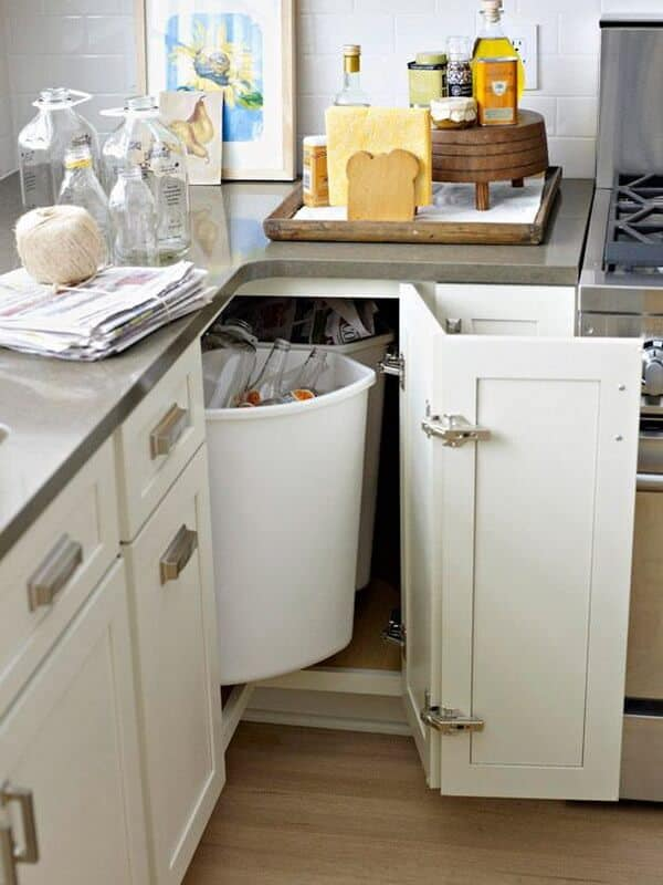 Corner recycling and garbage cabinet