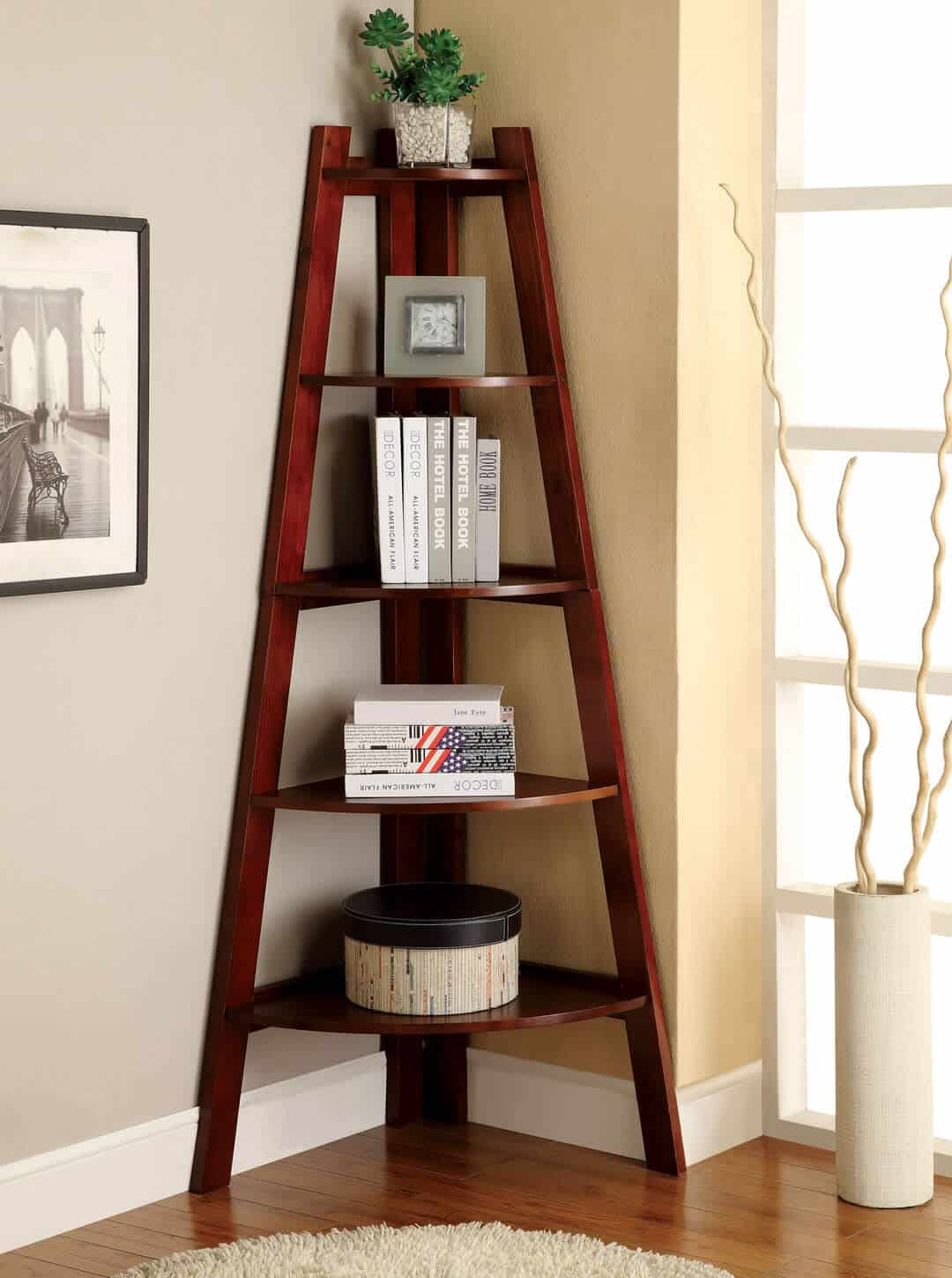 Simple tri-leg tower corner shelf.  This works in living rooms, dining rooms, foyers, bedrooms or hallways.
