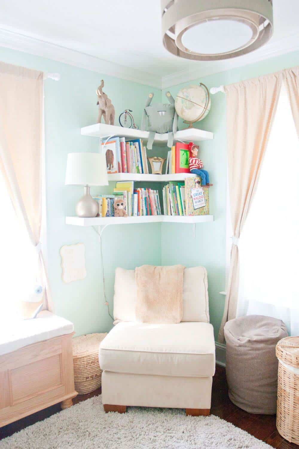 Corner floating shelves in kids room