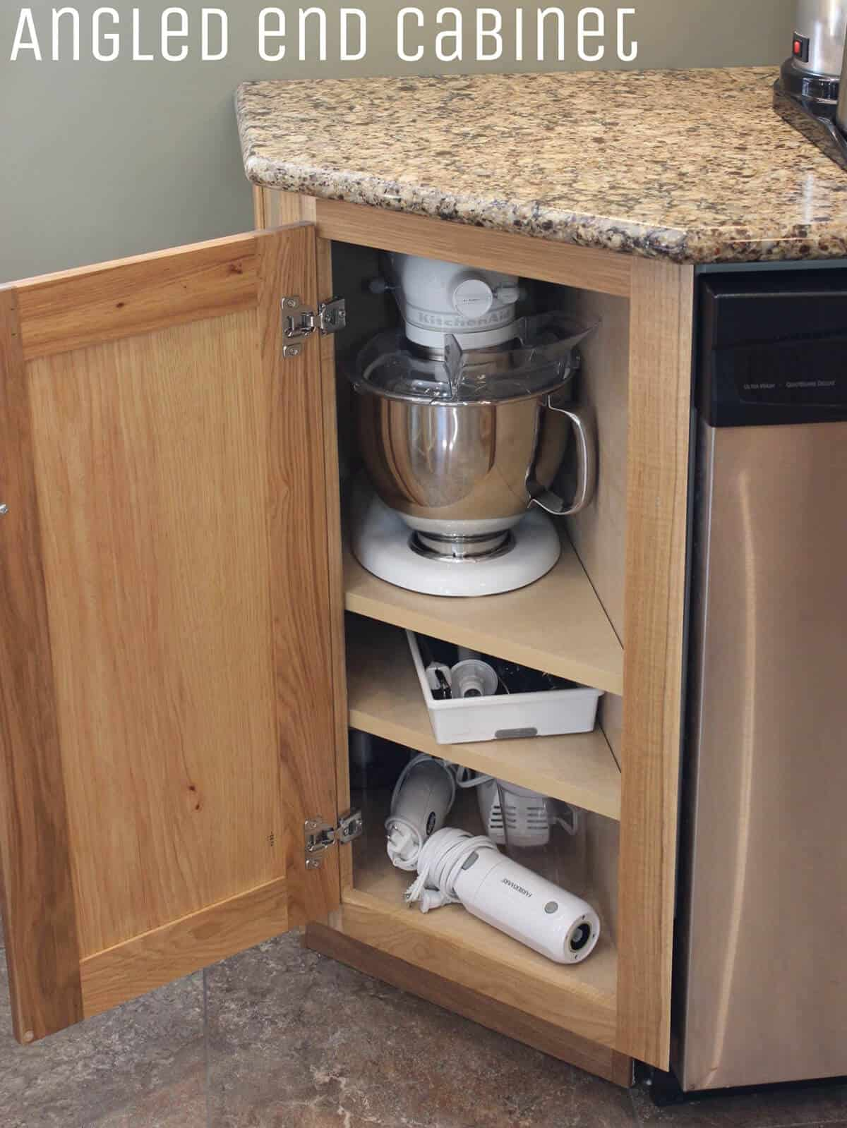 Here's an example of kitchen cabinet storage placed in an outward angled corner