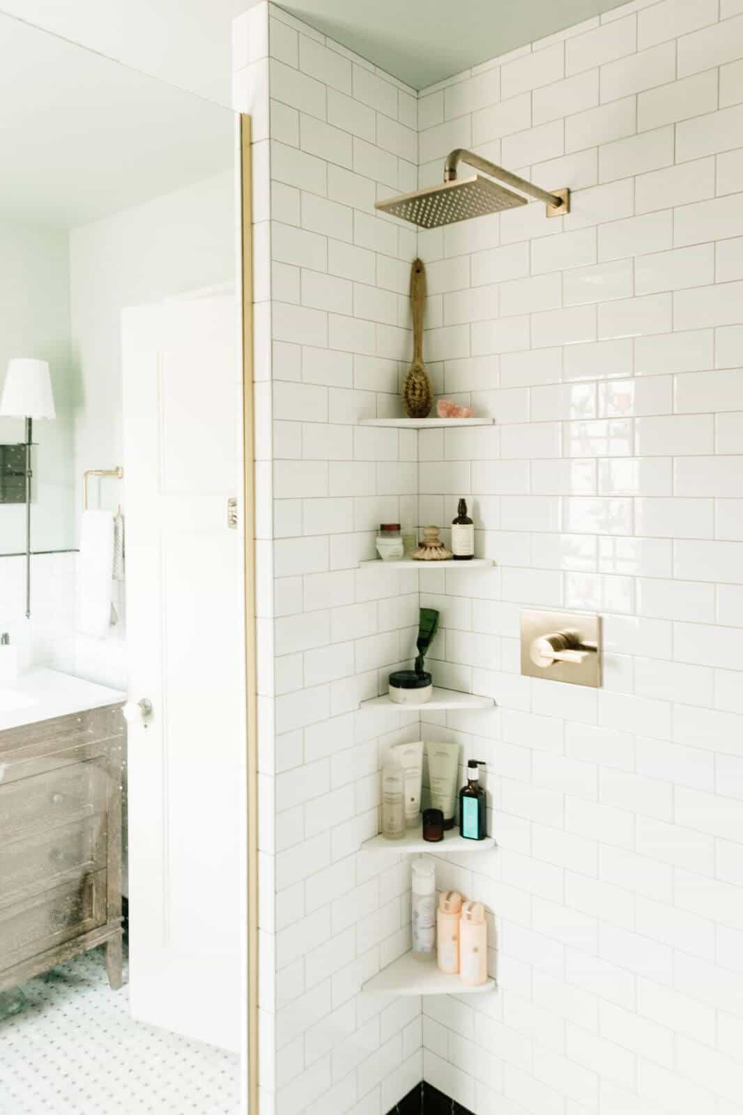 corner shelving concept in the shower