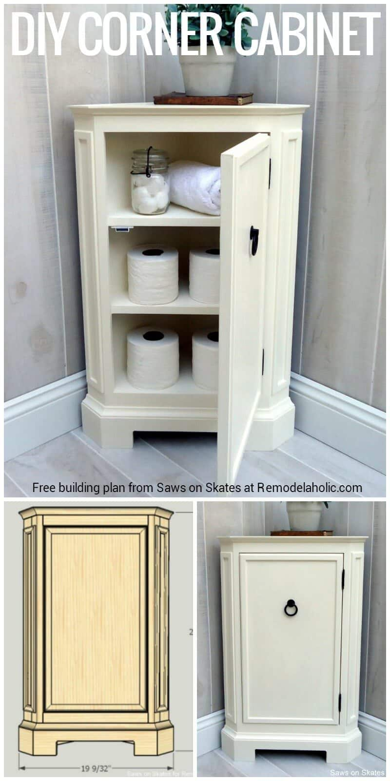 simple DIY corner storage cabinet for the bathroom