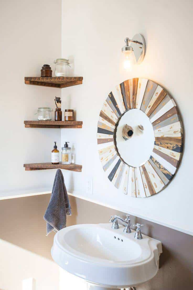 simple floating corner shelving in small bathroom