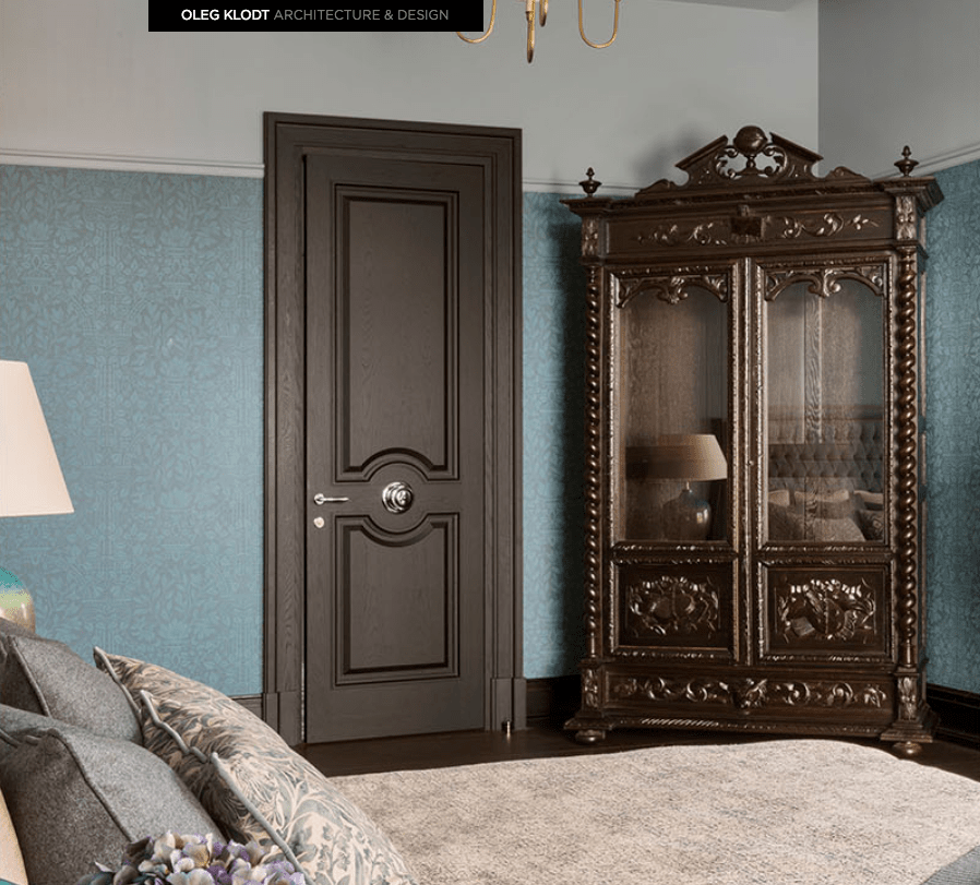 Guest bedroom in Russian mansion with a corner antique ornate wardrobe