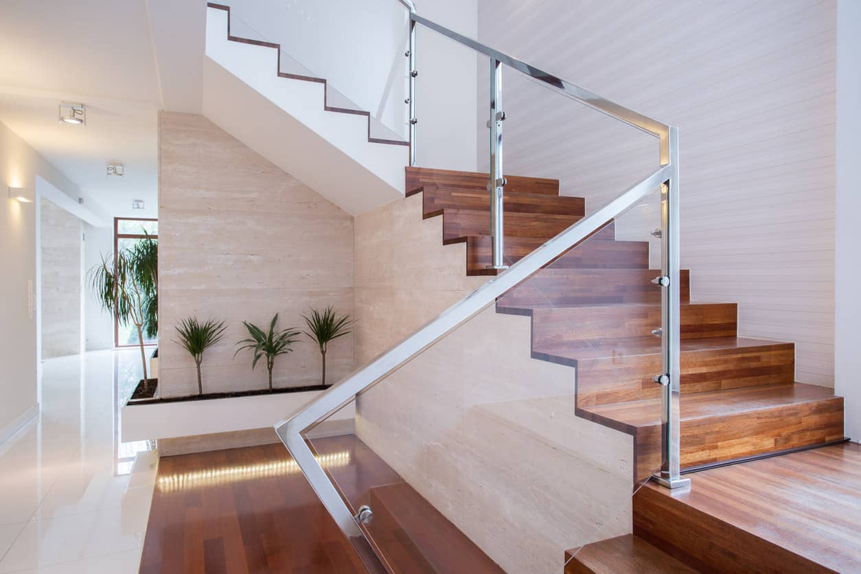 Cool Contemporary Wood 3/4 Turn Staircase With Chrome And Glass Railing.