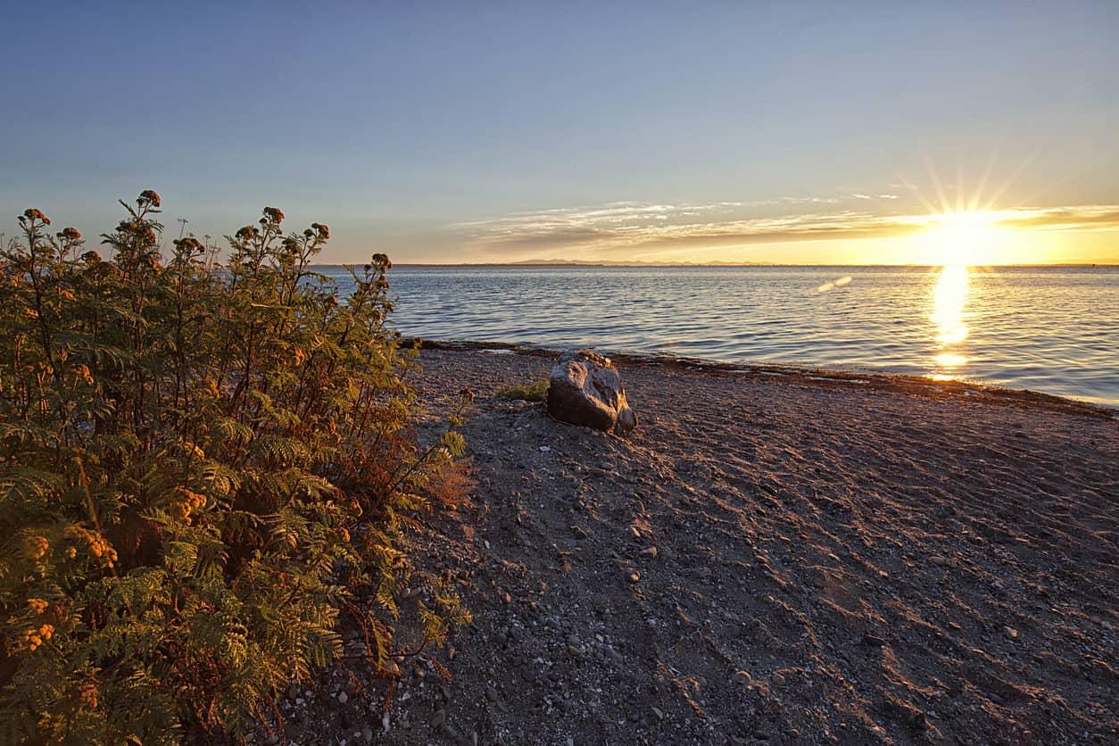 Crescent Beach sunset in summer, Surrey. BC, Canada