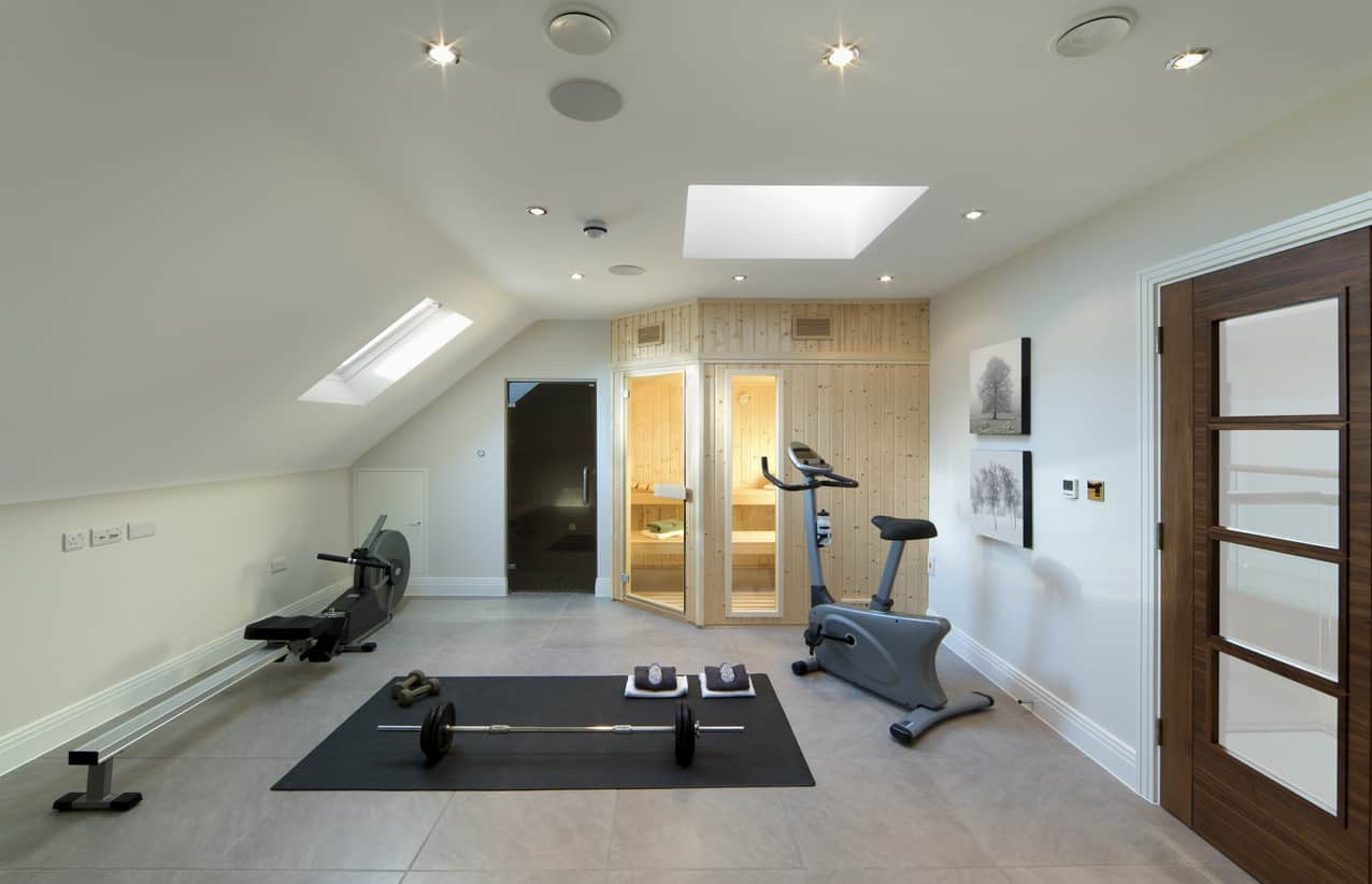 Simple home gym with skylights and sauna.