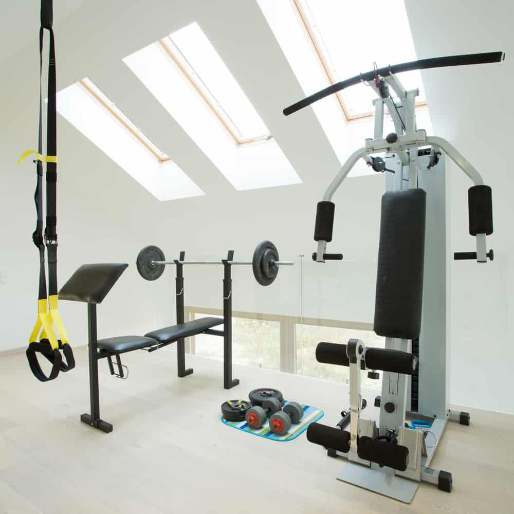 Home gym with skylights.