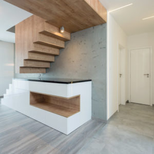 Illusion modern staircase in loft apartment.
