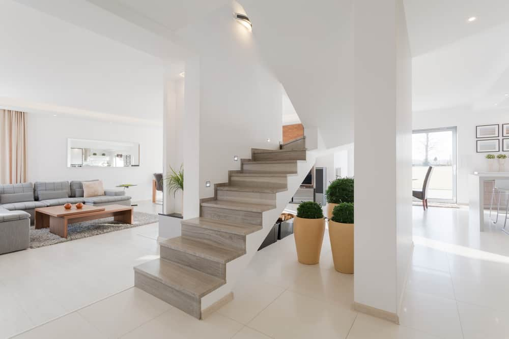 Modern stairs with no railing.