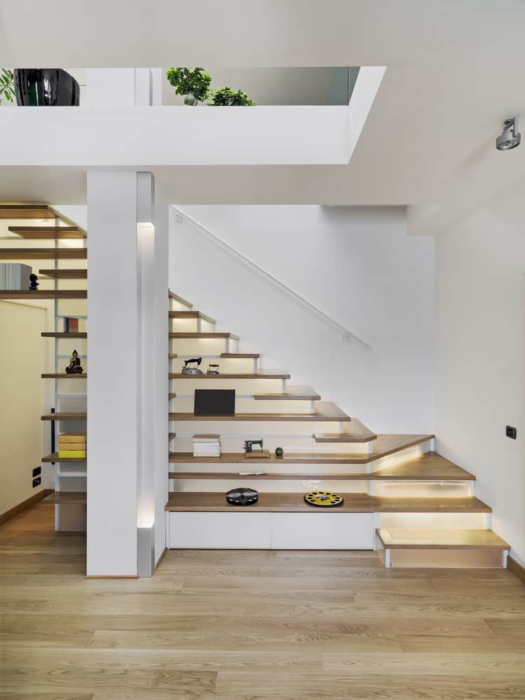 Modern stairs with shelving.
