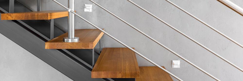 Modern steel stair railing.