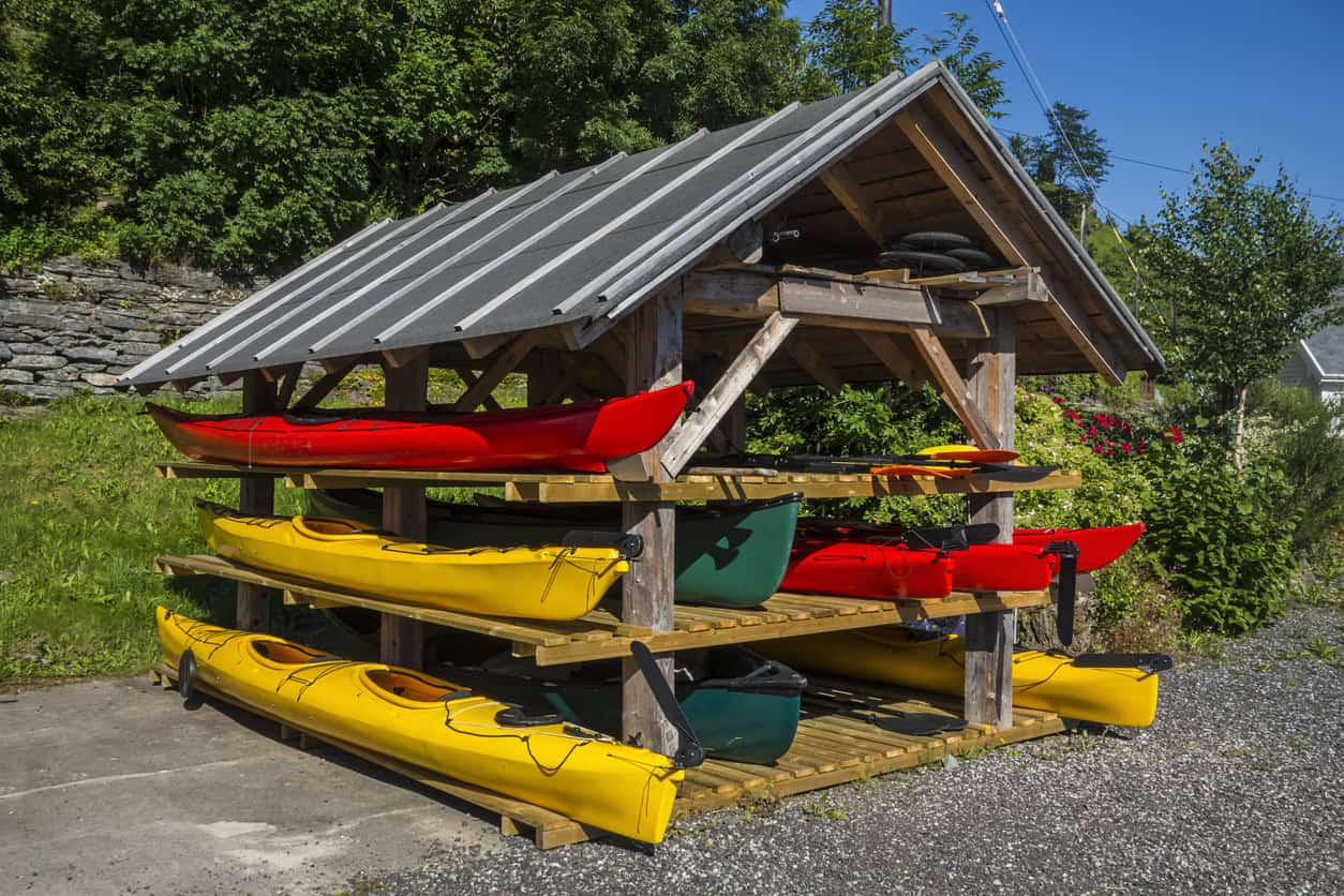 Outdoor kayak storage shed