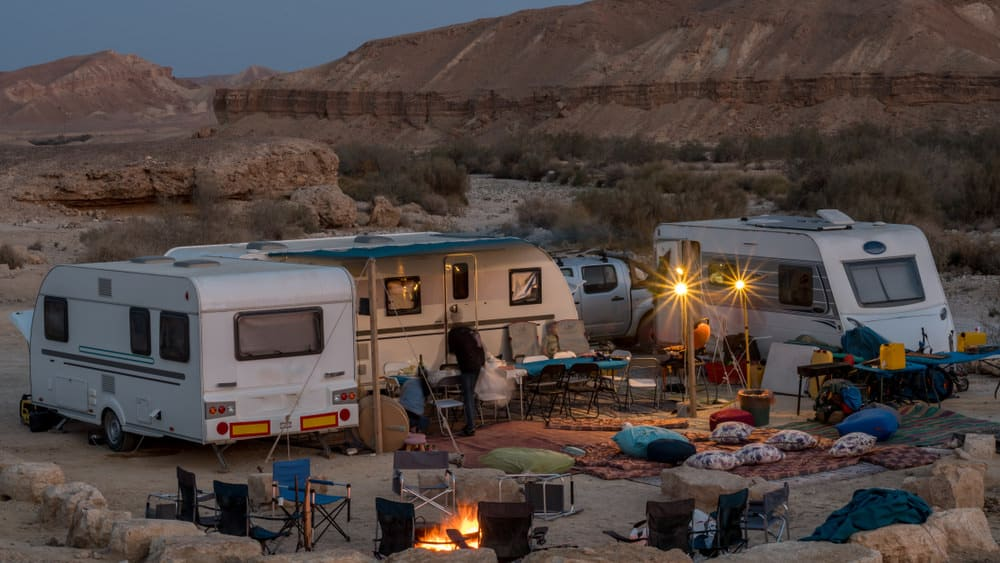 RV trailers camping in desert campground