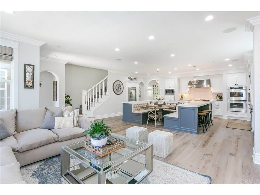 Tamra Judge house - great room including family room and awesome white kitchen.