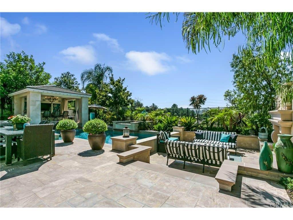 Tamra Judge house - backyard gazebo, pool and massive custom patio.