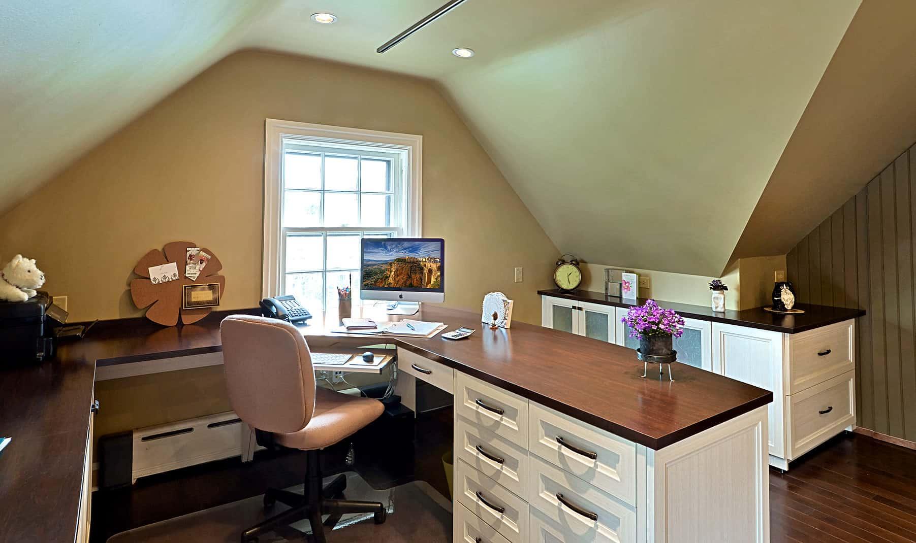 Outward corner custom cabinet in home office in the attic