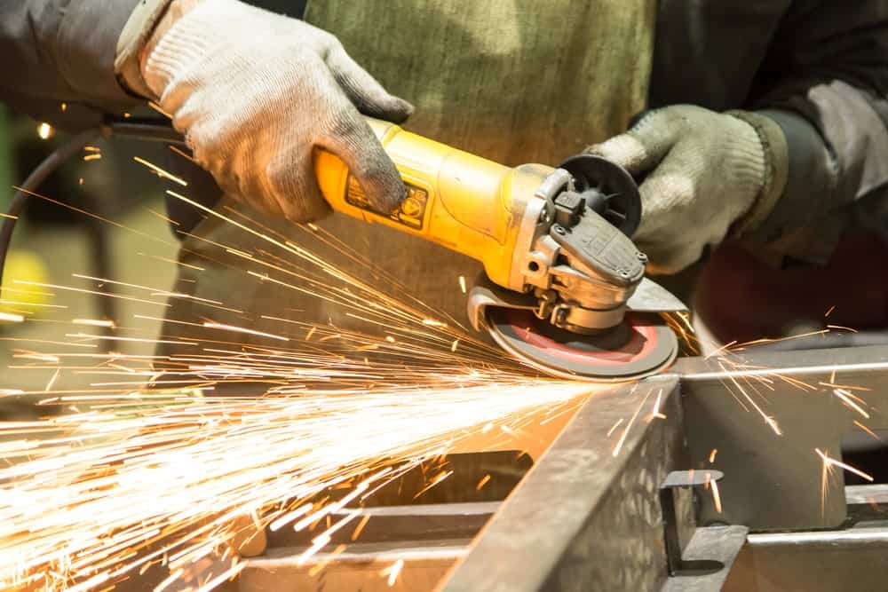Angle grinder in action.