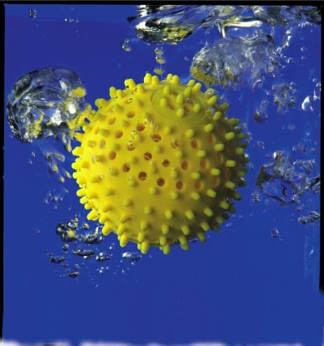 An aquaball is submerged under the water.