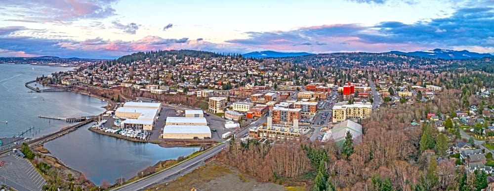 Aerial view of Bellingham, WA.