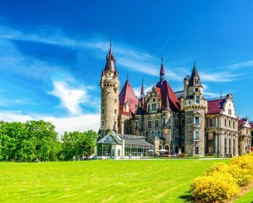 Fairytale castle garden entrance fantasy park landscape