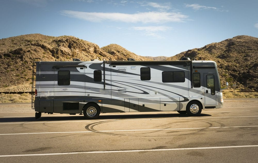 Class A RV trailer on the road.