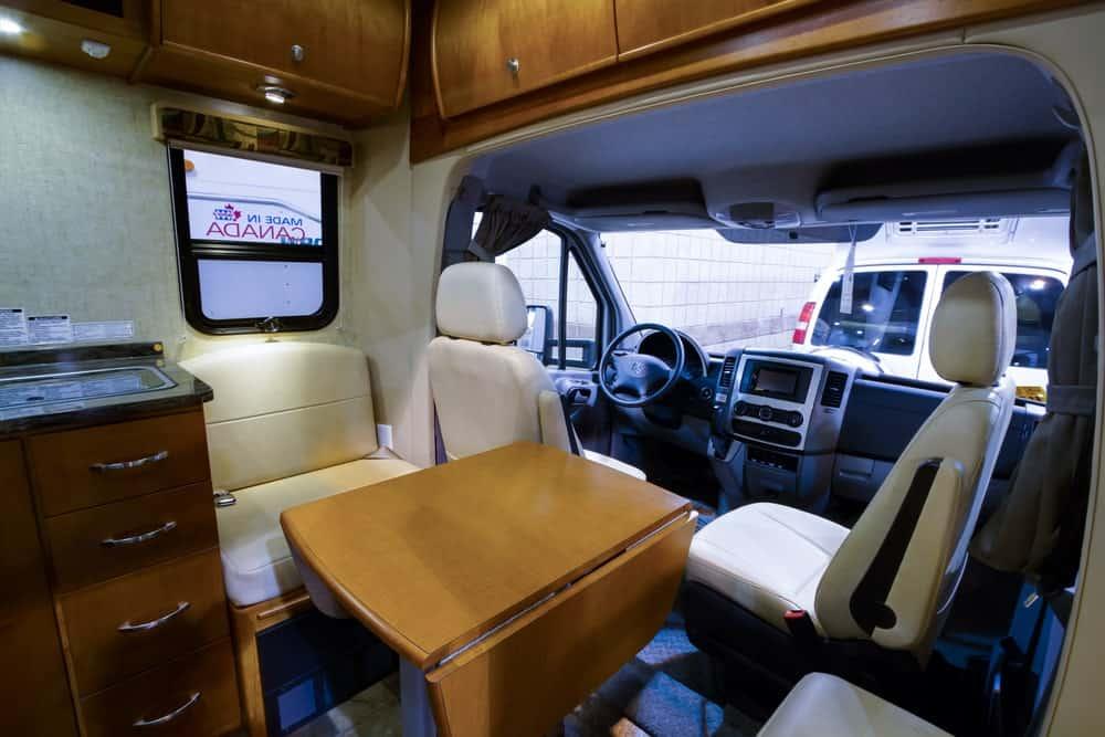 An interior of Class B RV trailer.