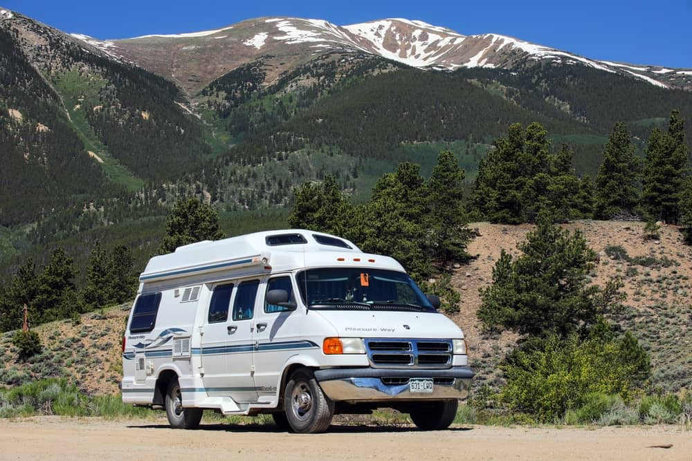 A class B motorhome on the road.