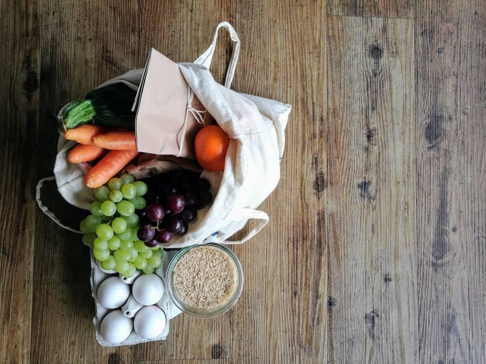 Vegetables inside a cloth bag