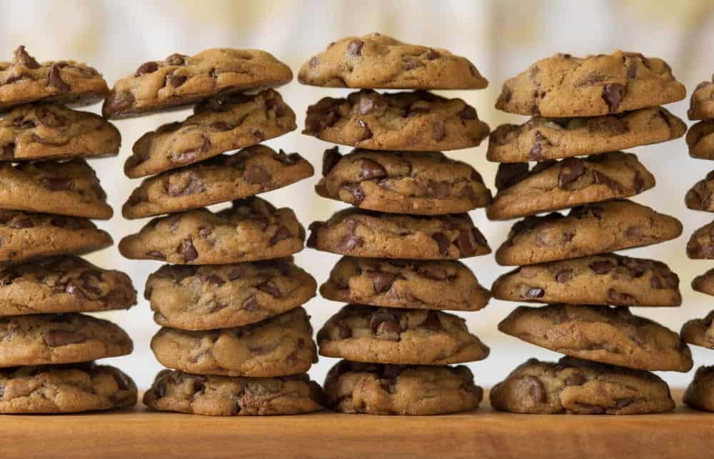 Stacks of chocolate chips cookies