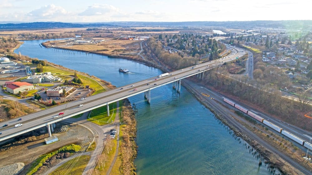 I5 bridge over Snohomish River at Everett, WA.