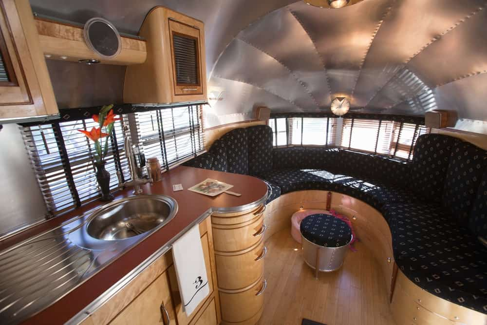 Interior of an RV trailer.