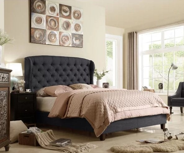 King-sized upholstered panel bed