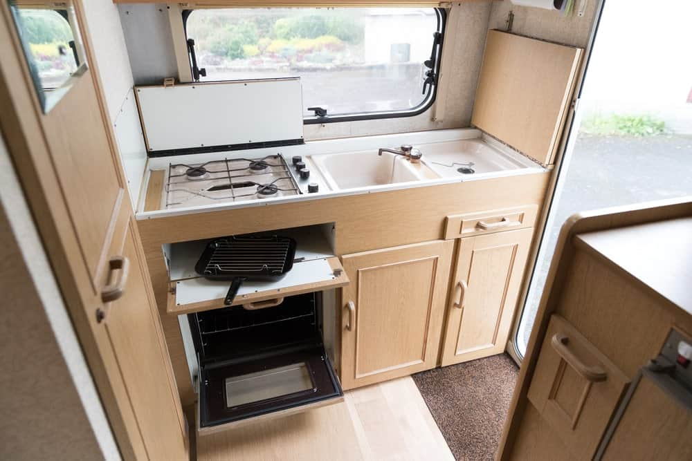 Kitchen area in a tent trailer