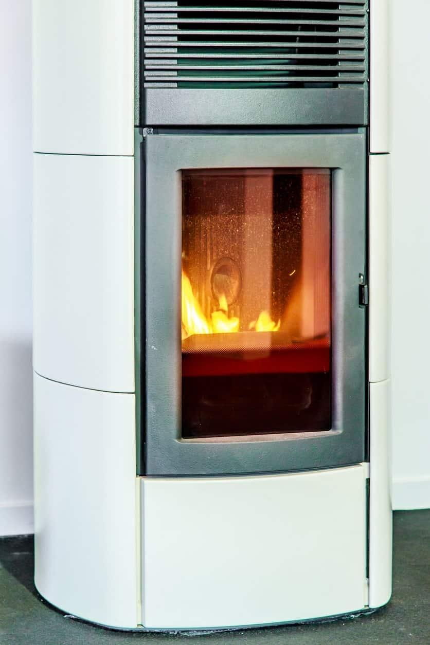 Modern stove pellet on white background.