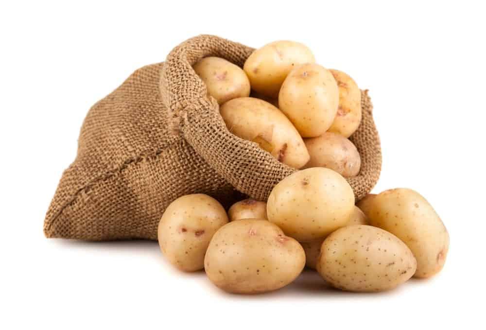 Potato sack loaded with potatoes