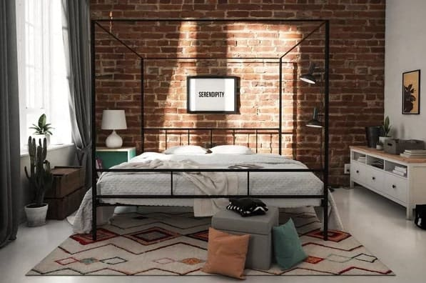 Queen-sized canopy bed