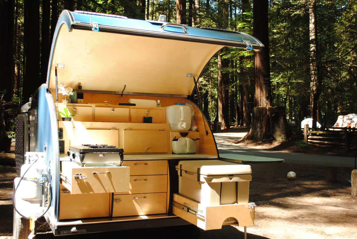 Close up of kitchen area at rear of teardrop camper.