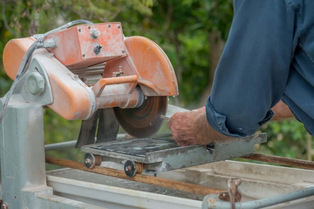 Tile saw used to cut concrete.