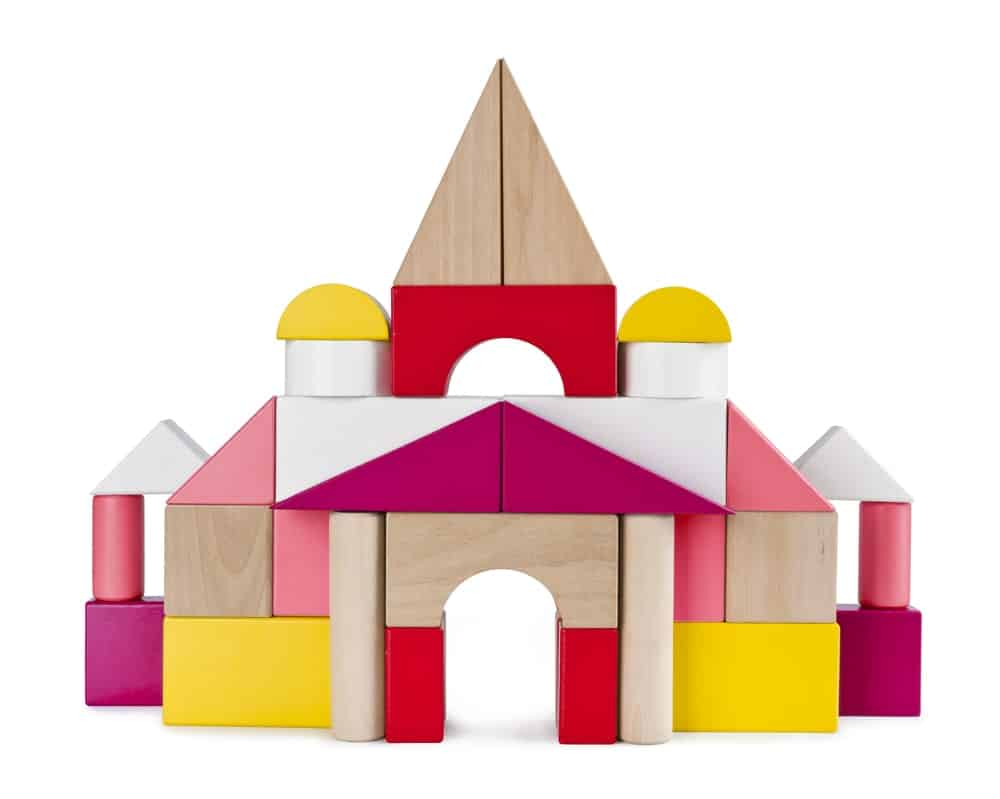 Toy castle made out of building blocks.