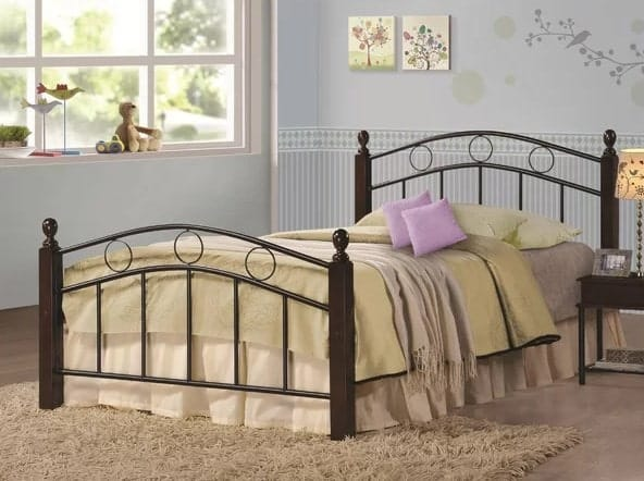 Twin bed with wood frame