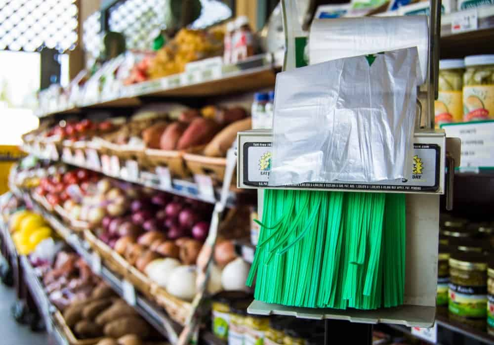 Twist tie bags are ready for usage inside a grocery store.