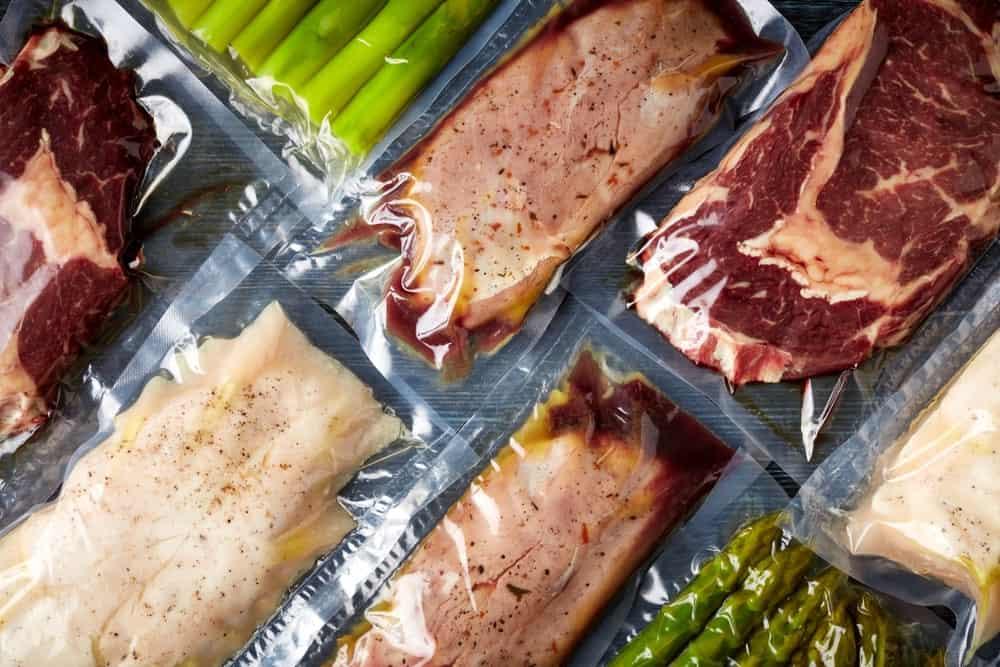 Meats inside vacuum-sealed packaging