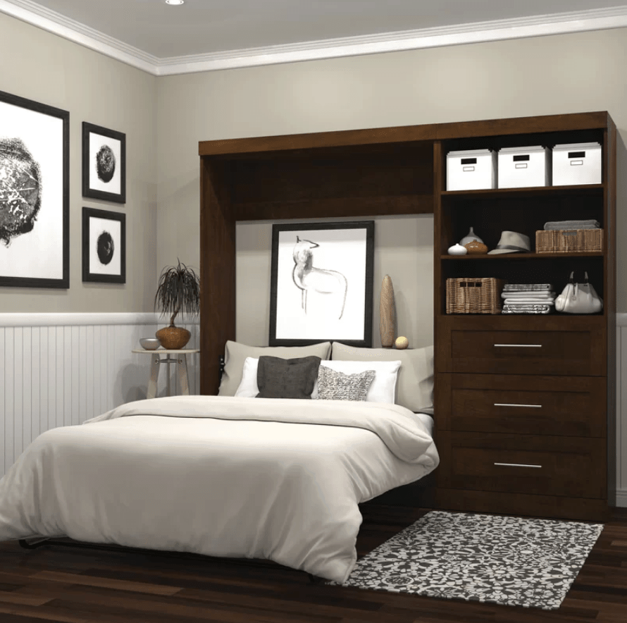 Vertical wall bed with attached bookcase and dresser