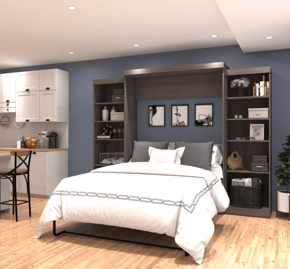 Wall bed with shelves